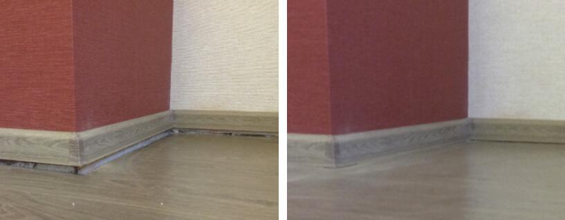 Sjunkande golv före och efter