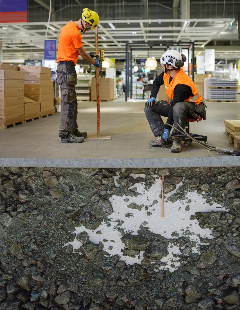Ett golvlyft med Geobear-metoden på ett lager